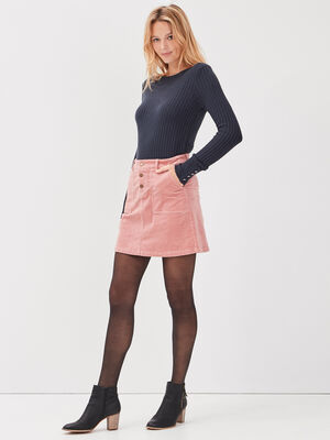 Jupe droite velours cotele rose femme