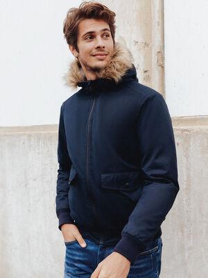 Blouson droit a capuche bleu marine homme