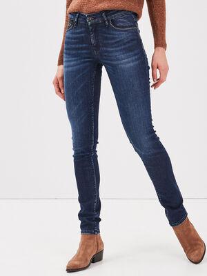 Jeans slim details taille denim brut femme