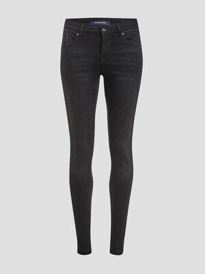 Jeans skinny details chaines denim noir femme