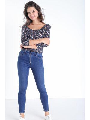 Jeans skinny zippe denim stone femme