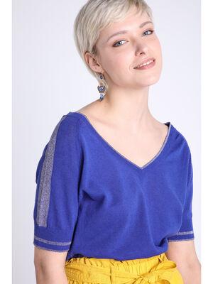 Pull manches courtes col en V bleu violet femme
