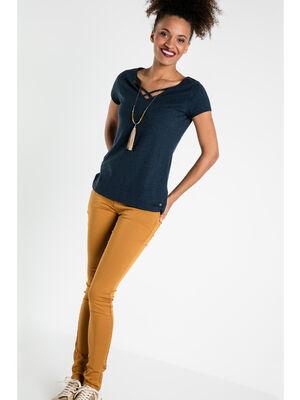 Pantalon Instinct skinny jaune moutarde femme