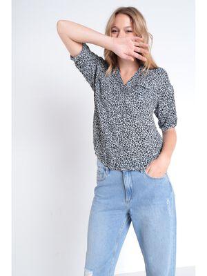 Chemise manches courtes gris femme