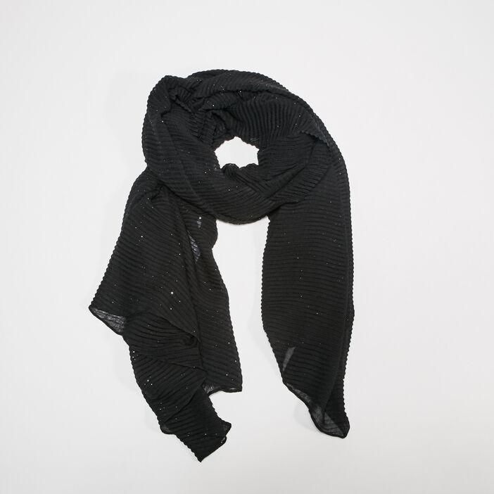 Foulard plissé noir femme