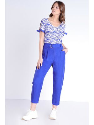 Pantalon loose taille standard bleu violet femme