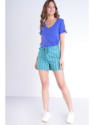 Short rayures vert femme