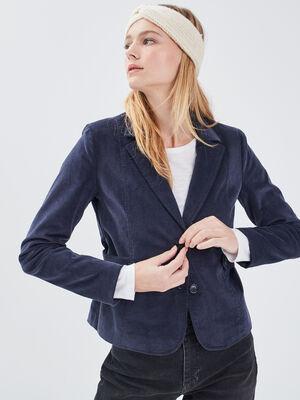 Veste droite effet velours bleu fonce femme