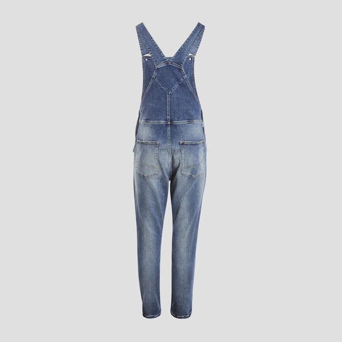 Salopette droite en jean denim used homme