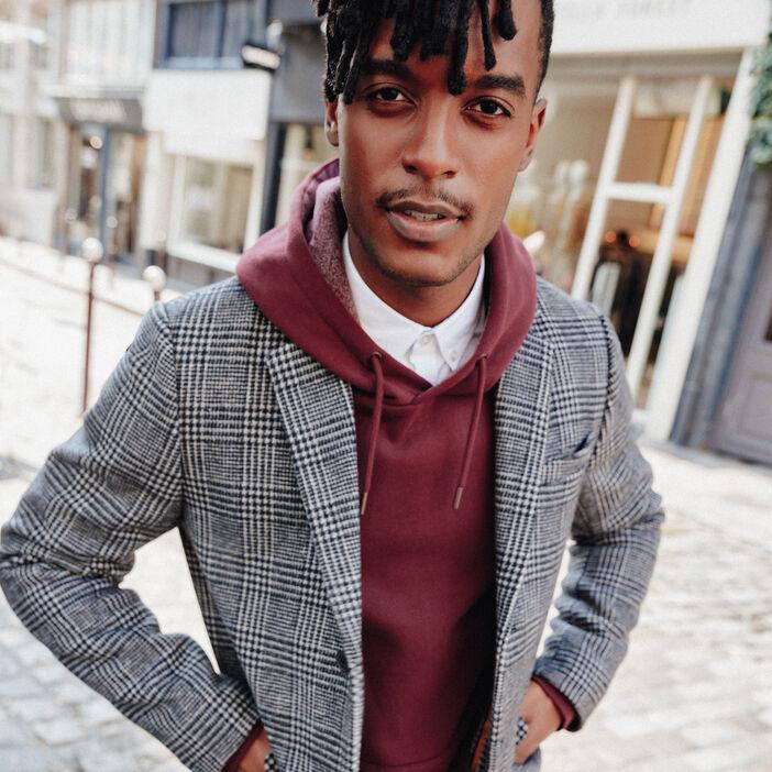 Manteau droit boutonné gris foncé homme