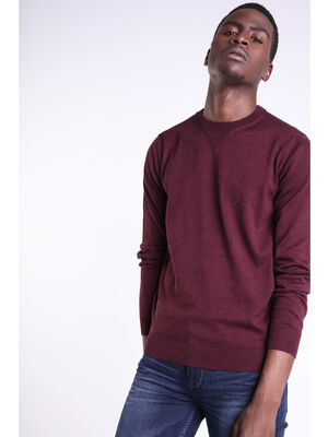 Pull col rond maille Instinct bordeaux homme