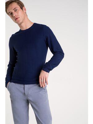 t shirt col arrondi homme uni bleu fonce