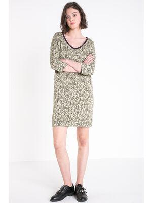 Robe courte cintree col en V a fleurs vert kaki femme