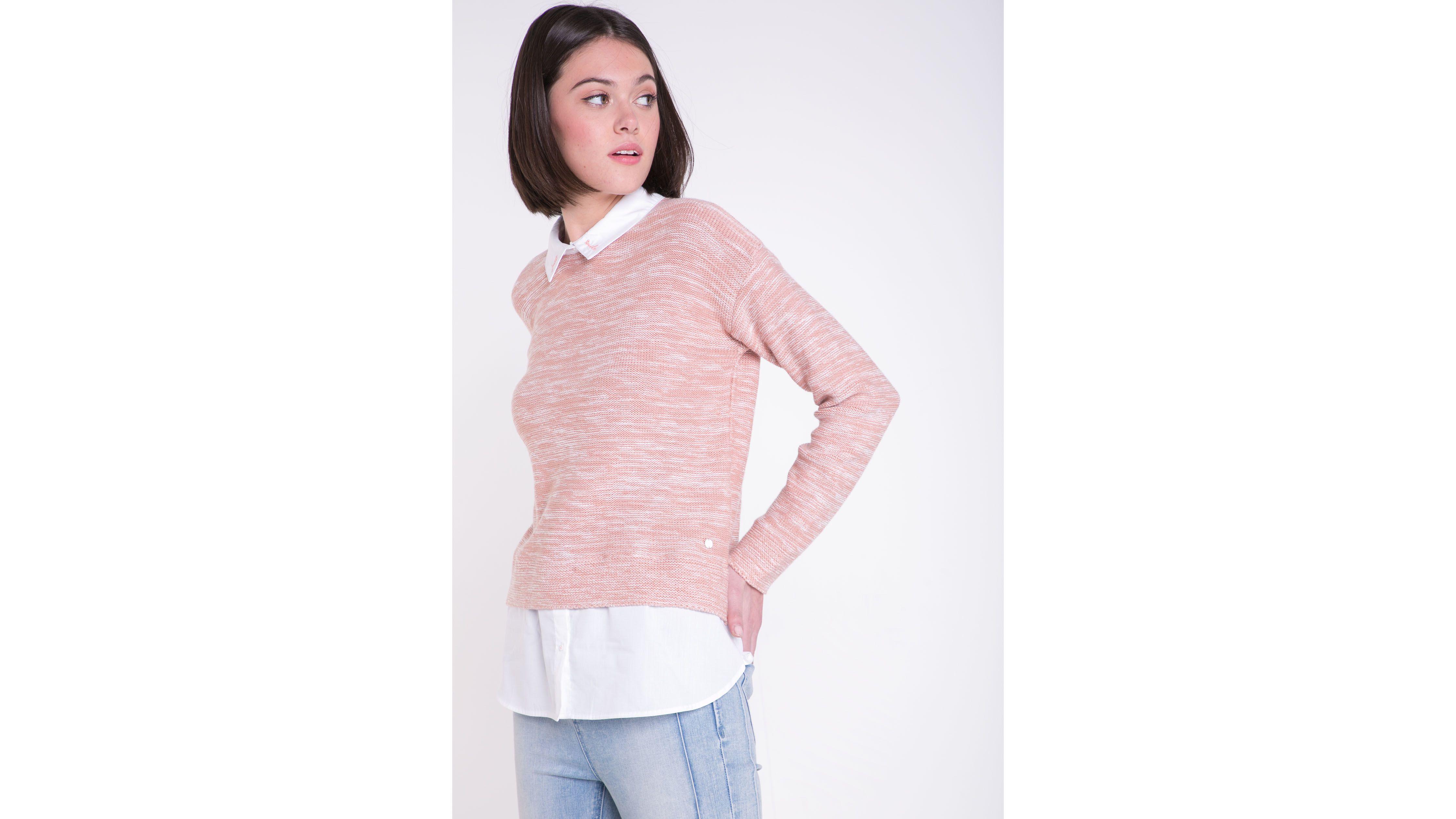 Pull col chemise femme 2 en 1 Instinct VIEUX ROSE | Vib's
