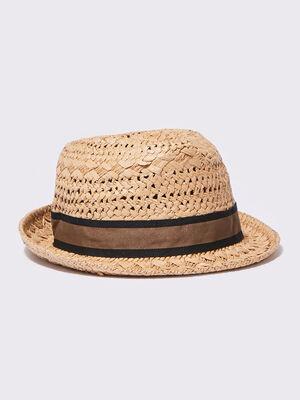 Chapeau tresse sable homme