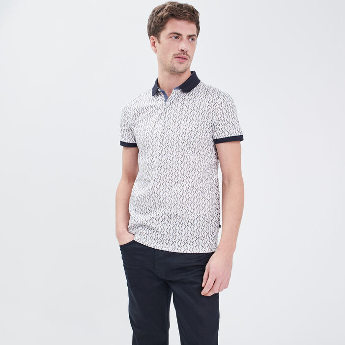 Polo manches courtes blanc homme