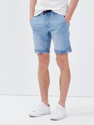 Bermuda slim en jean denim bleach homme