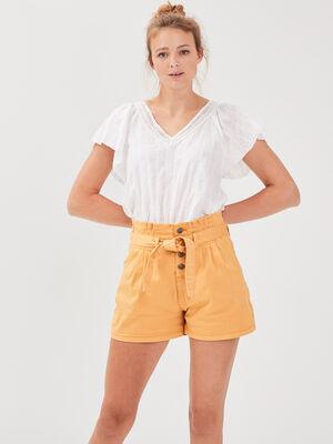 Short large a ceinture nouee jaune femme