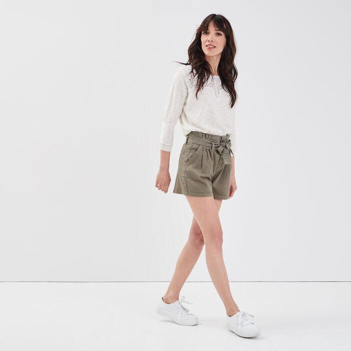 Short large à ceinture nouée vert kaki femme
