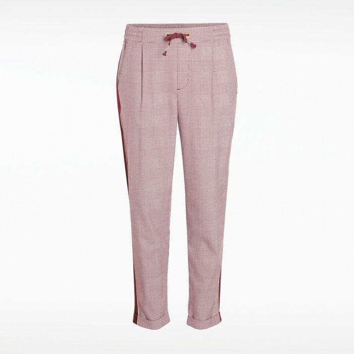 Pantalon chino cordon à nouer violet foncé femme