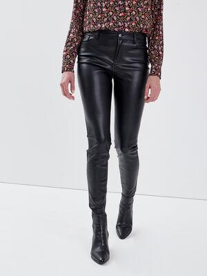 Pantalon similicuir noir femme