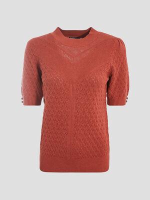 Pull manches courtes orange fonce femme