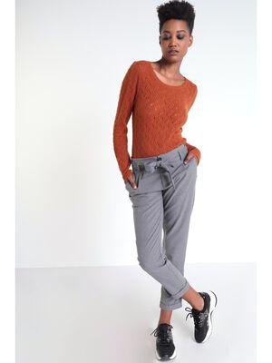 Pantalon carotte a noeud gris clair femme