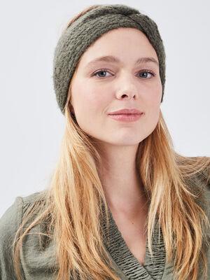 Bandeau tricote vert kaki femme
