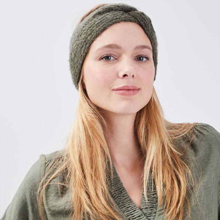 Bandeau tricoté vert kaki femme