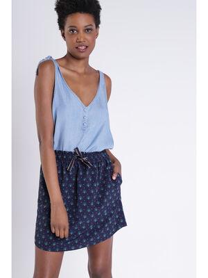 Jupe imprimee bleu fonce femme