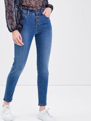 Jeans slim boutonne denim stone femme