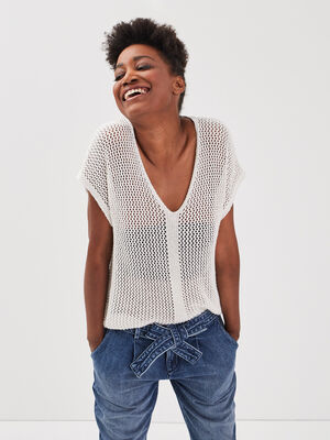 Pull manches courtes ajoure blanc femme