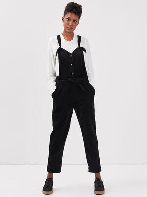 Salopette droite ceinturee noir femme