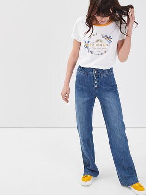 Jeans bootcut boutonne denim stone femme
