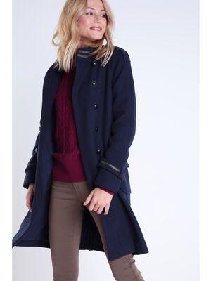 manteau officier col montant femme bleu fonce