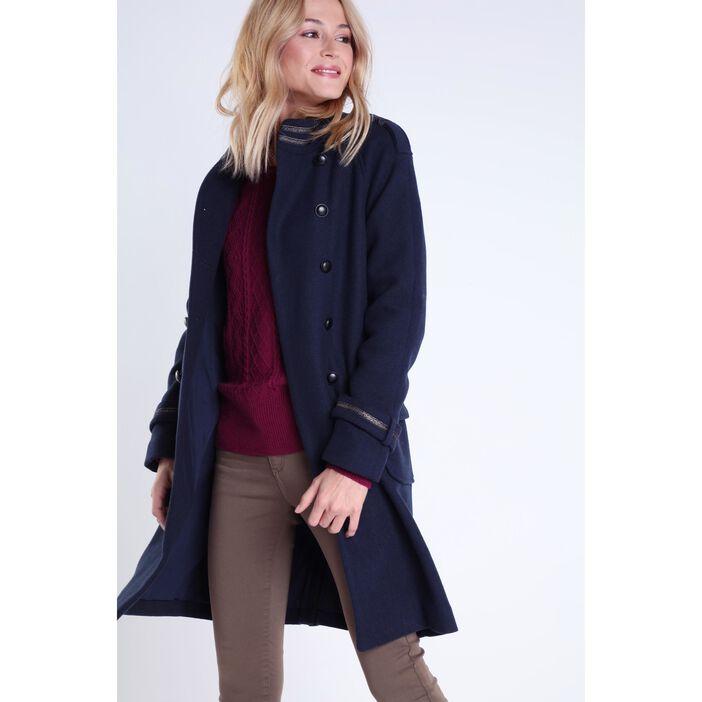 vente officielle conception adroite spécial chaussure Manteau officier col montant femme BLEU FONCÉ   Vib's