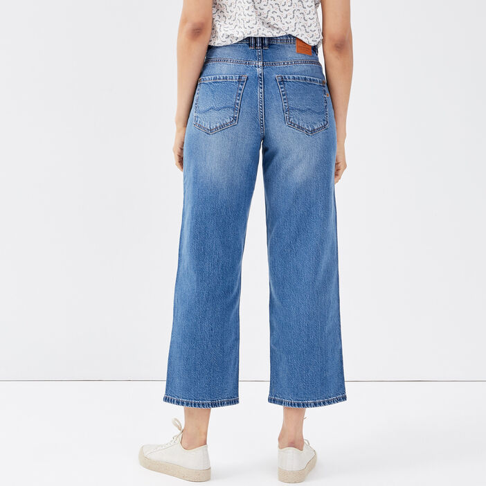 Jeans wide-leg denim stone femme