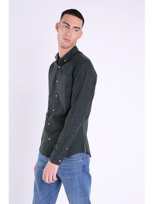chemise col boutonne homme marron fonce