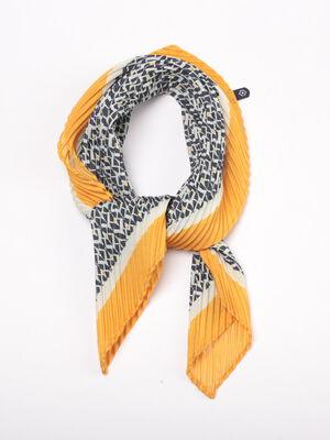 Foulard plisse jaune or femme