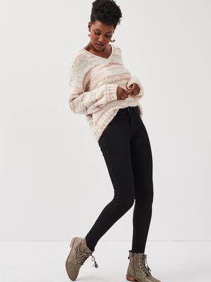 Jeans jegging skinny taille haute denim noir femme