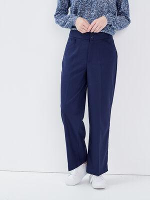 Pantalon large taille haute bleu marine femme