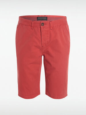 Bermuda chino droit coton rouge homme