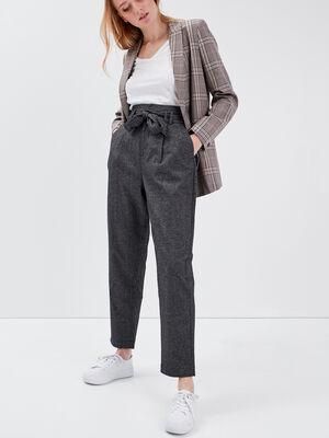 Pantalon carotte ceinture noir femme