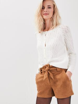 Short paperbag effet suedine marron femme