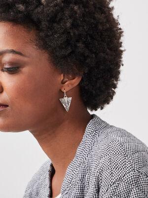 Boucles doreilles pendantes couleur argent femme
