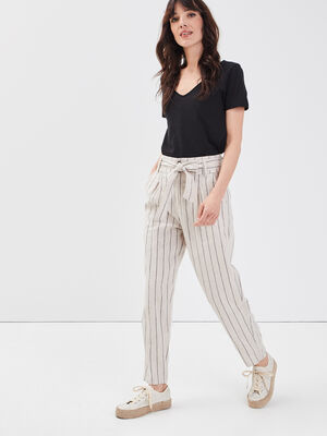 Pantalon eco responsable beige femme