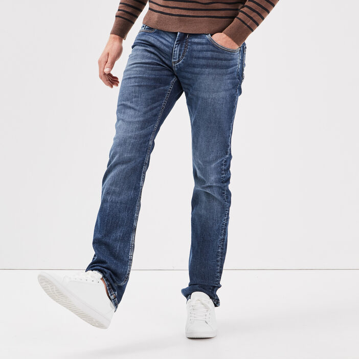 Jeans straight used denim stone homme