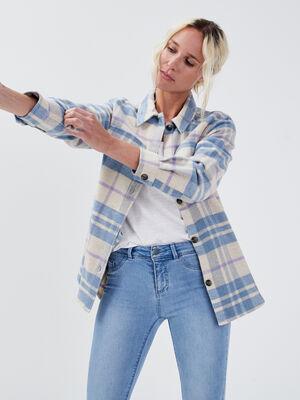 Veste droite boutonnee bleu gris femme