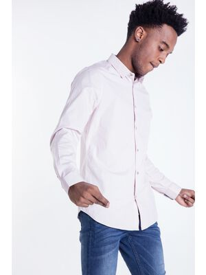 chemise col simple homme unie rose saumon