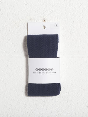 Collants maille fantaisie bleu marine femme